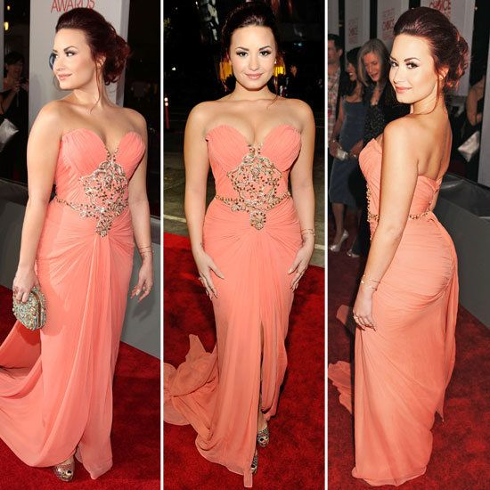 Demi Lovato Awards dress-could have benefited from straps, and less stuffing in the bust, but a really pretty dress