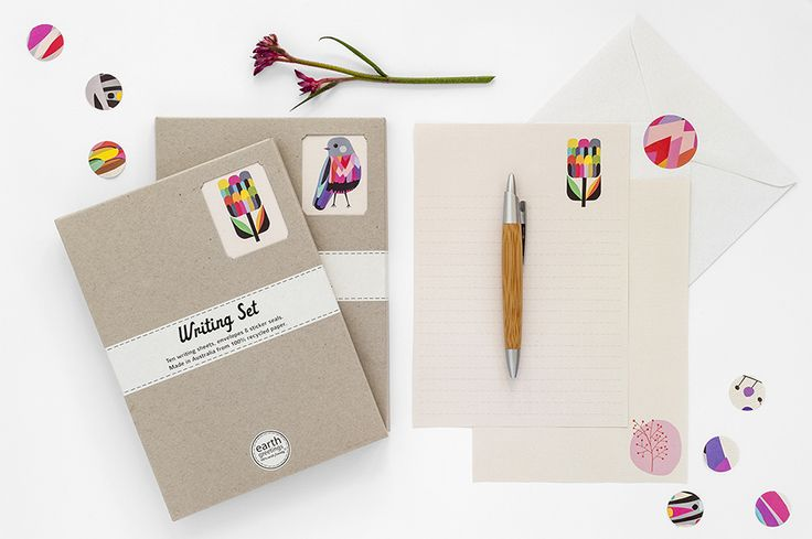 Writing Sets designed by Inaluxe for Earth Greetings.  Made in Australia from 100% post-consumer waste and Accredited Carbon Neutral.