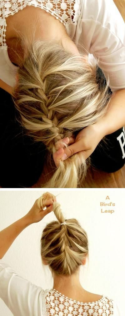 upside down french braid... This would be so cute then in a sock bun