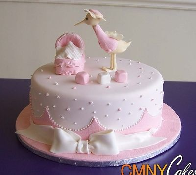 Pinterest baby showers pin pink stork baby shower cake for Baby girl shower cake decoration ideas