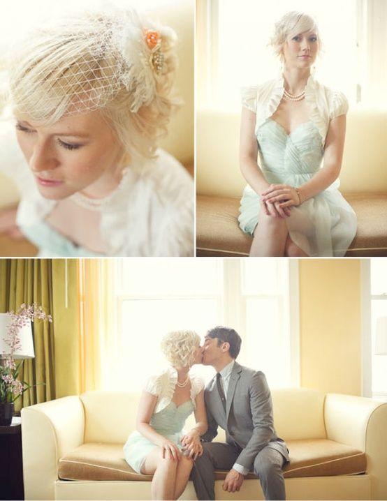 Mint wedding dress, I like the bolero and the little hat, too!
