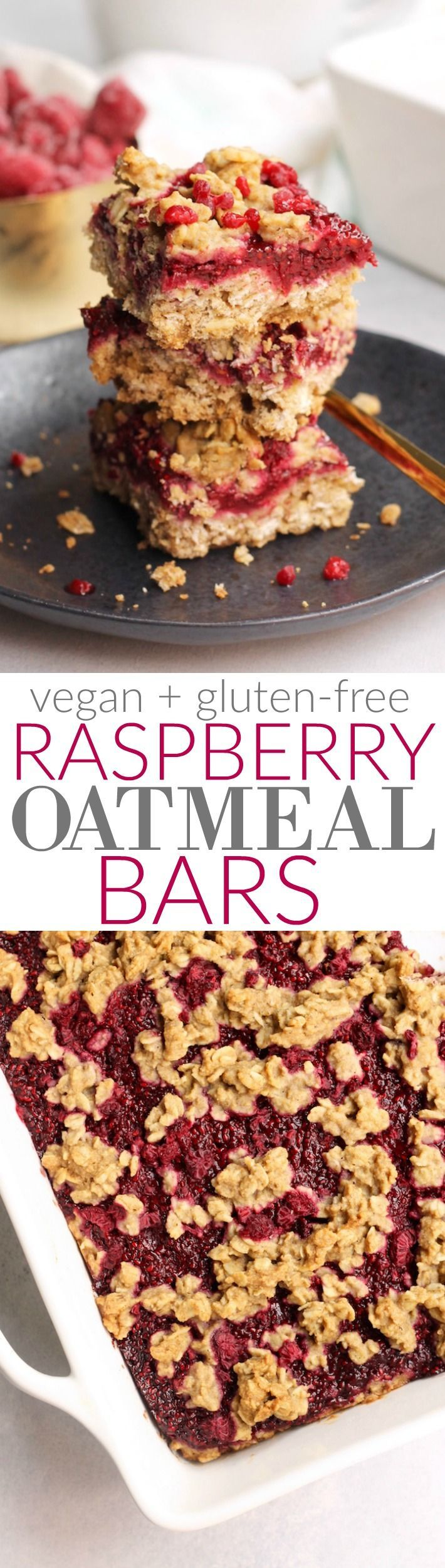 These raspberry oatmeal bars are packed with whole grains, raspberries, and chia seeds for the perfect healthy snack or treat! Vegan and gluten-free.