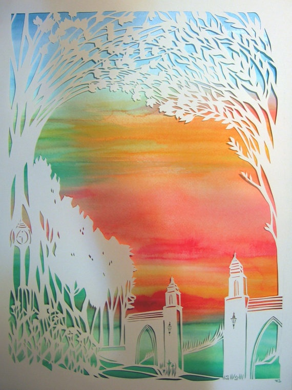 Indiana University Sunrise Papercut Artwork Ketubah - Dunns Woods memories - calligraphy - reserved for Lauren and Josh