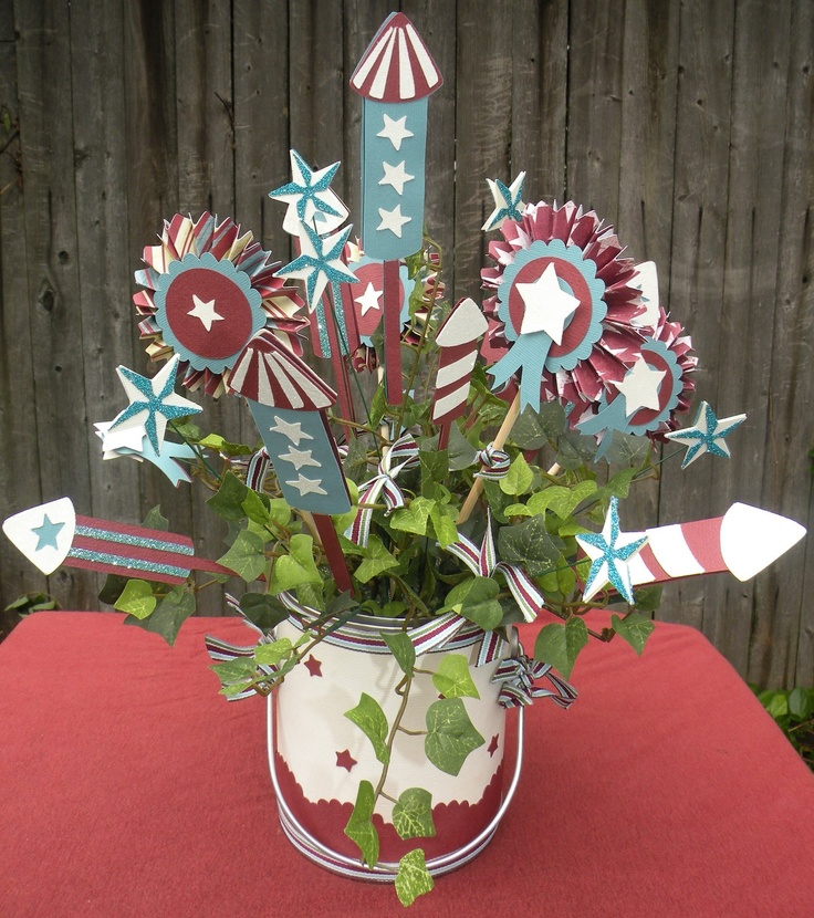 Fabulous centerpiece for the 4th!  Cheryl used UNCLE SAM'S EXTRAVAGANZA SVG COLLECTION PART 1, VINTAGE PAPER ROSETTES SVG KIT, AND ROSIE'S RIBBON STRIPS SVG COLLECTION.