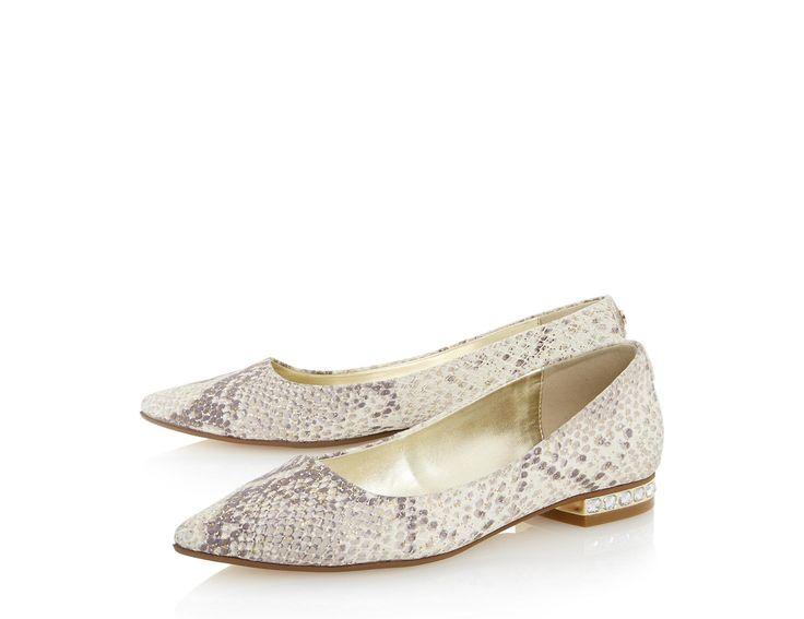 DUNE LADIES ABBIE - Jewel Heel Pointed Toe Flat Shoe - grey | Dune Shoes Online