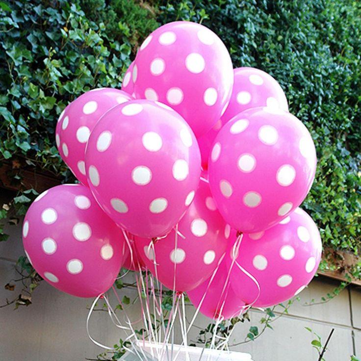 100X Pink White Polka dots Minnie Mouse Balloons Birthday Wedding Party Supplies #sempertex #BirthdayChild