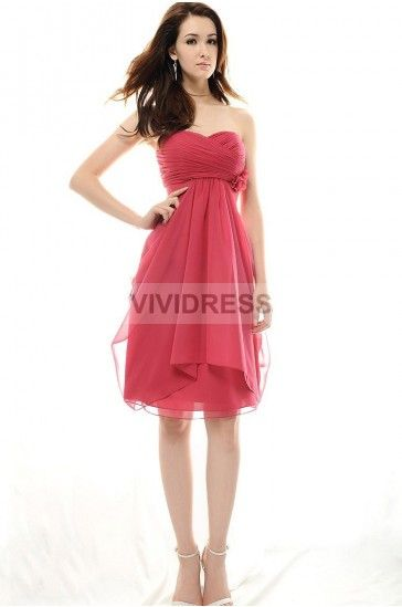 Floral Line Sweetheart Chiffon Short Maternity Wedding Guest Dresses Guests