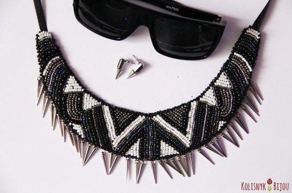 Kolisnyk Bijou geométrica punk negro y blanco con cuentas collar babero collar declaración, regalo, bordado con cuentas, collar de abalorios