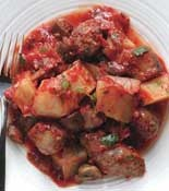 Sausage Cacciatore.  I use Chorizo instead of Italian Sausage, and I leave out the mushrooms...but this is a GREAT meal and easy to throw together!