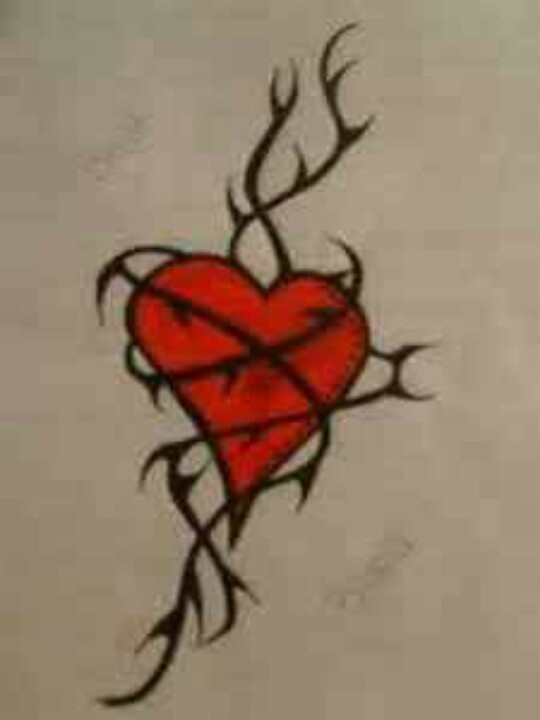 heart entwined in rose thorns tattoo sharpie pinterest heart tattoos and body art and. Black Bedroom Furniture Sets. Home Design Ideas