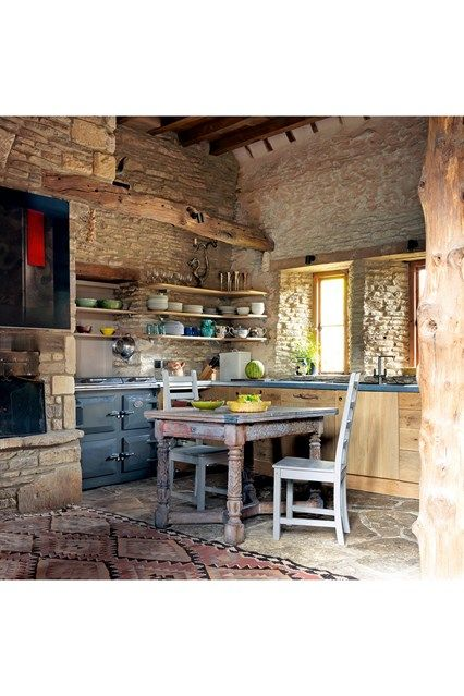 Rustic Barn Kitchen - An Oxfordshire barn conversion with magical rustic interiors - kitchen ideas on HOUSE by House & Garden.