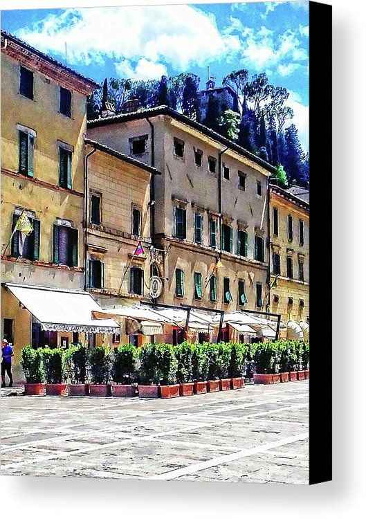 Italy Canvas Print featuring the photograph Main Square View Cetona Tuscany by Dorothy Berry-Lound #cetona #tuscany #tuscanholidays #italiantravel