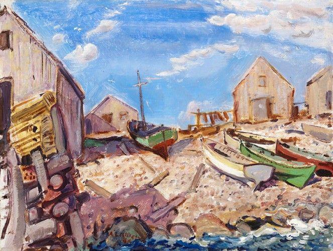 Arthur Lismer - Boats on Beach Neil's Harbour Cape Breton 12 x 16 Oil on panel (1946)