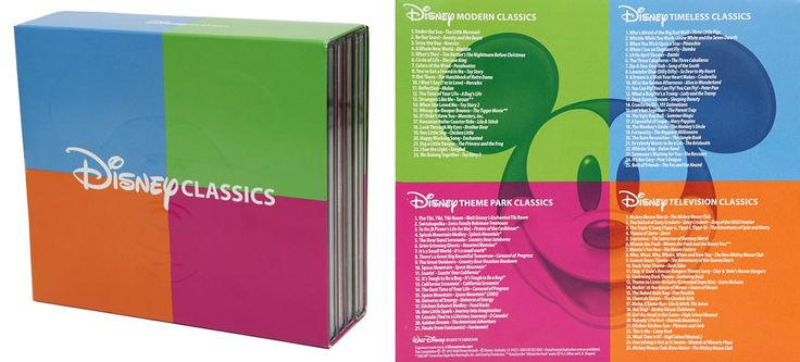 "Disney Classics Music Box Set - Bring Home a Box of Disney Memories - ""Walt Disney Records is celebrating with over eight decades of Disney music"" in a four-cd box set. Help, my dreams have come true"
