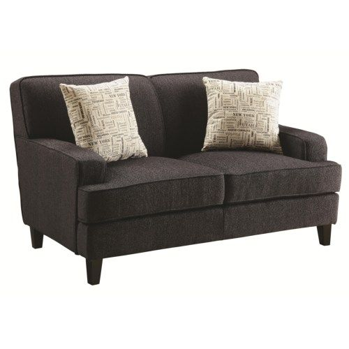 Coaster Finley Transitional Love Seat with Track Arms - Coaster Fine Furniture