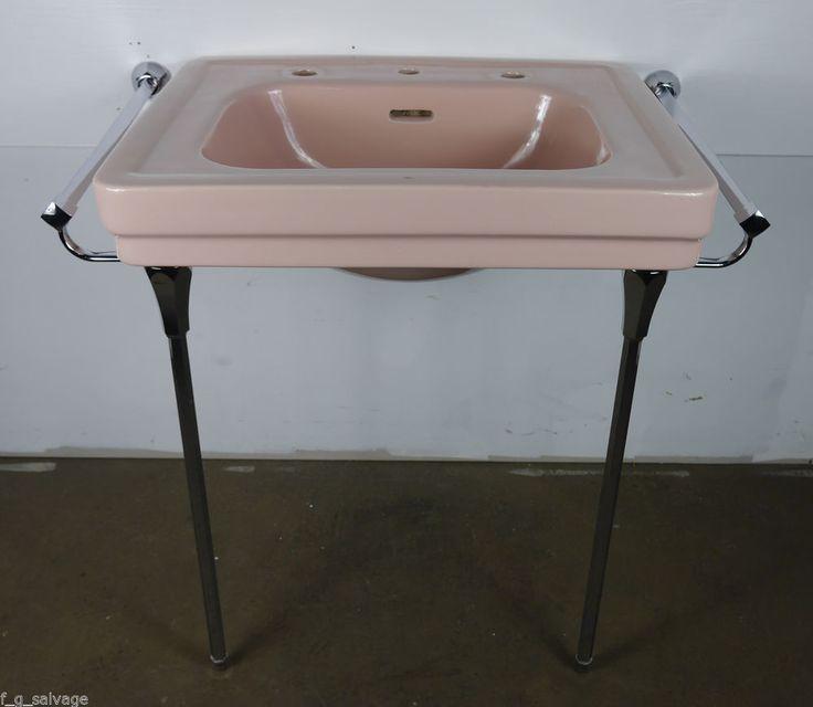 Antique Vintage American Standard Bathroom Sink Pink Corallin 1940u0027s  U0027Roxburyu0027