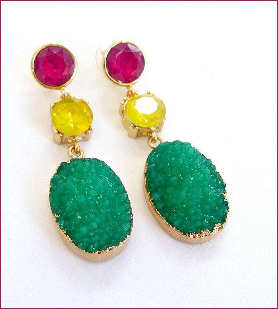 glass green/yellow/pink woman earrings Boucles
