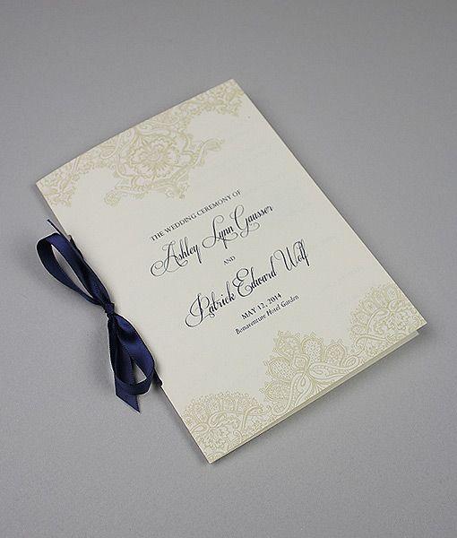 DIY elegant pearls & lace wedding ceremony program from Download & Print.