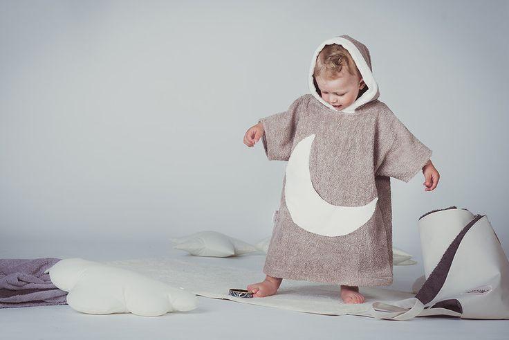 Bademäntel - Mond Bademantel mit Kapuze Kinder Poncho Handtuch - ein…