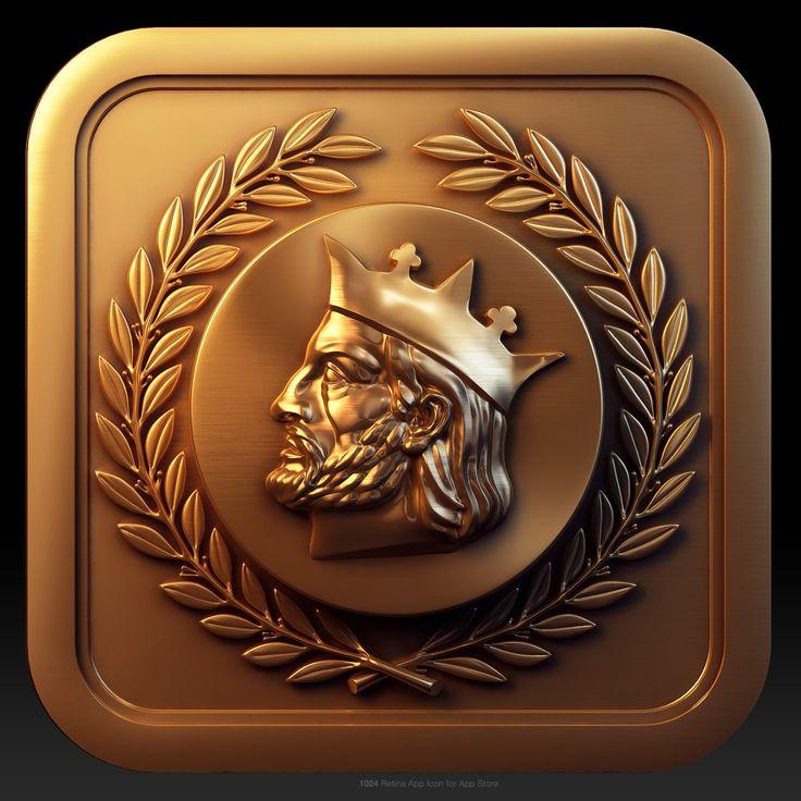 Amazing #metal #ios app icon for Alfonso X, a Spanish restaurant menu app. by Evgeny Skidanov