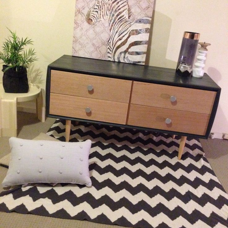 Retro modern Scandinavian inspired upcycled chest of drawers. Lowline sideboard lowboy. Black & blonde wood. Chevron rug. Retro modern living. Upcycled by revolving_attic