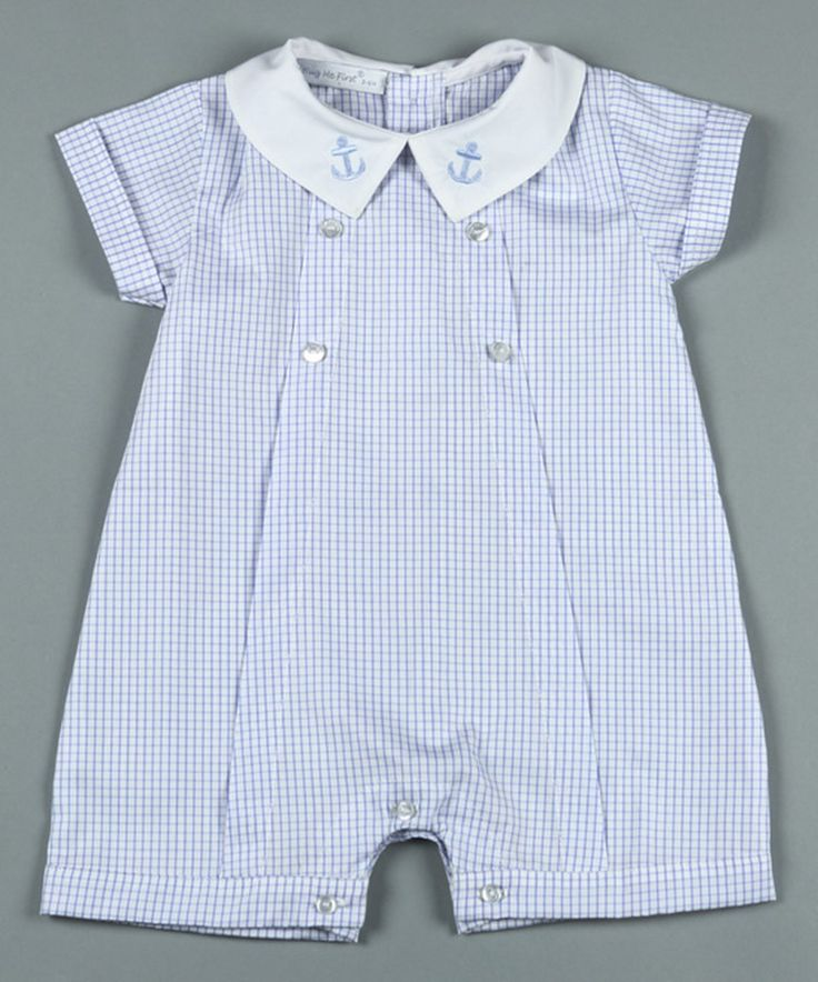This Hug Me First Blue & White Checks Pima Romper - Infant by Hug Me First is perfect! #zulilyfinds I love this. ..