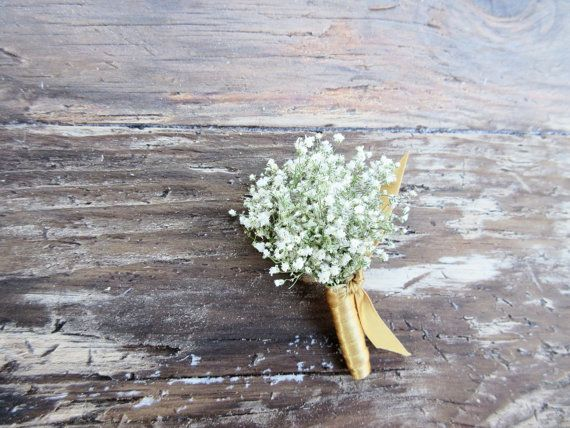 A simply lovely dried babys breath boutonniere with your choice of wrap in satin ribbon colors, up-cycled coffee bag burlap or jute twine. This
