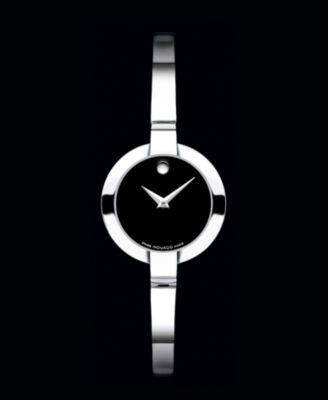 Movado Watch, Women's Swiss Bela Stainless Steel Bangle Bracelet 24mm 0605853 $495