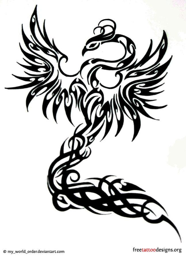 Feminine phoenix tattoo design in the tribal style