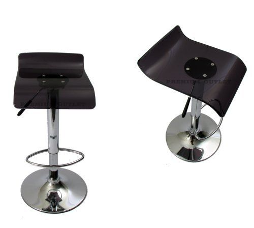 Smoke Acrylic Curve Modern Bar Stool (Set of 2) by Premium Outlet. $129.95. Quality and Craftsmanship.. Classic Bar Stool. In Stock & Ready to ship NOW!!!. NEW-Black Acrylic Modern Bar Stool Chair Set of 2. Modern Swivel. A vivid polycarbonate seat enlivens the pneumatic Black stool with glowing transparent smoke color. A sleek chrome pedestal base and curvacious seat contribute to the stool's liquid-like fluidity and design. Light playfully passes through the pol...