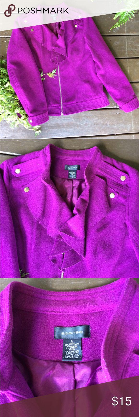 Spence ruffle detail purple zip up jacket Never worn, very comfortable, purple Jackets & Coats