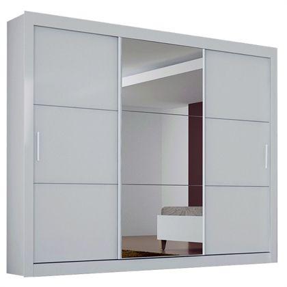 Compre Novo Horizonte : Guarda Roupa Espelhado 3 Portas Deslizantes e 4 Gavetas Paradizzo Plus 100% MDF Branco - Novo Horizonte por R$1289,00 - NetDecor