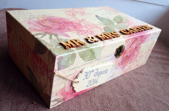 Wedding keepsake box wedding memory box by Treasuredmemsbysarah