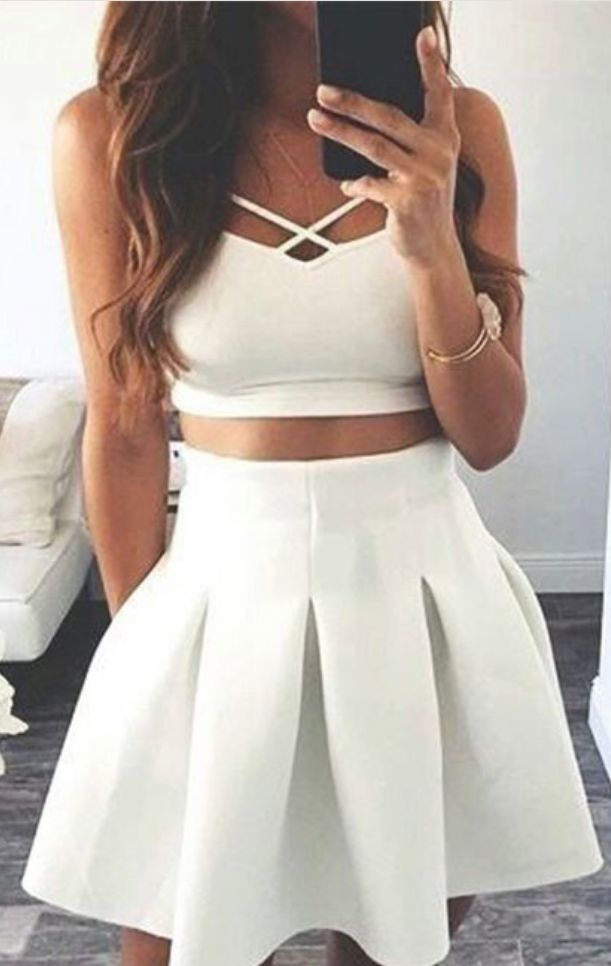 Custom Made White Two-Piece A-Line Satin Short Evening #Short Homecoming Dress#HomecomingDresses#Short PromDresses#Short CocktailDresses#HomecomingDresses