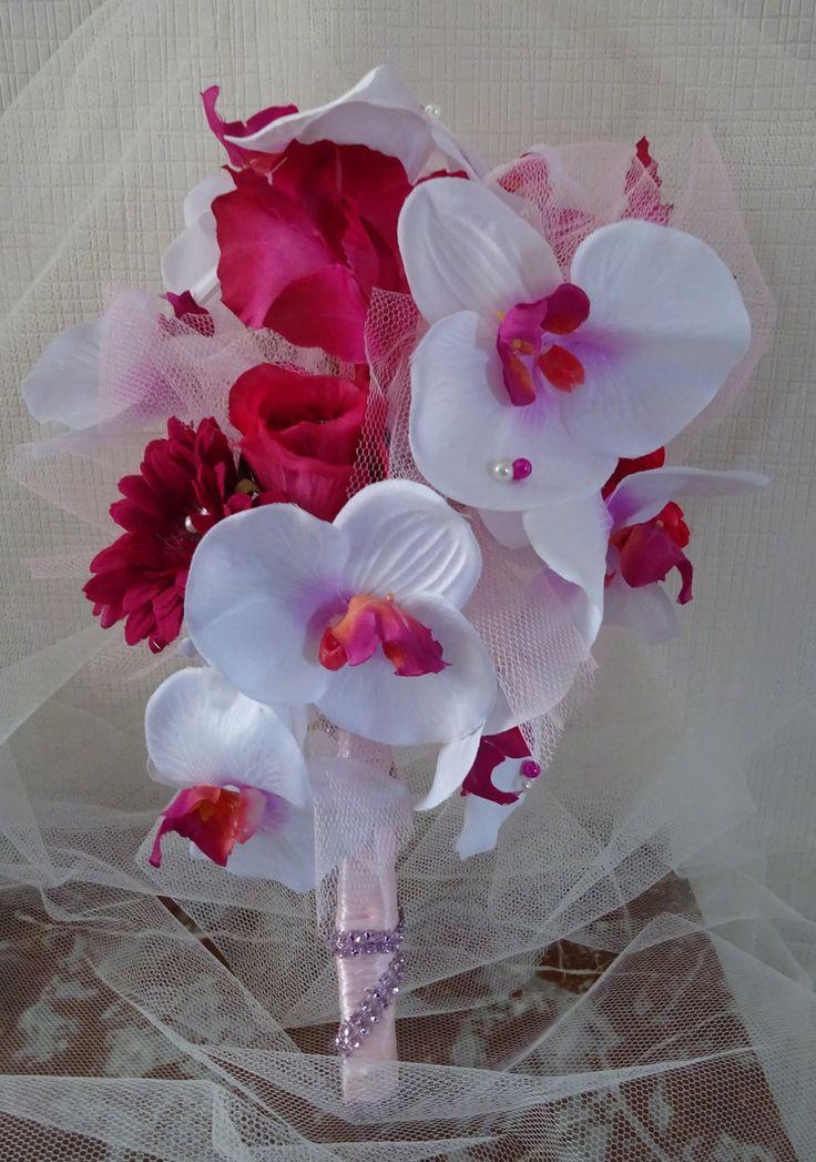 bouquet de mariée orchidées blanches et fuchsia : Autres accessoires par mes-bouquets-com