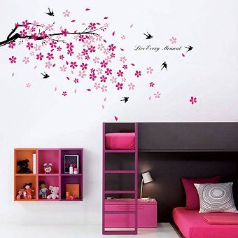 Walplus Swallows And Pink Flowers Wall Sticker Collection U2013 Next Day  Delivery Walplus Swallows And Pink Flowers Wall Sticker Collection From  WorldStores: ...