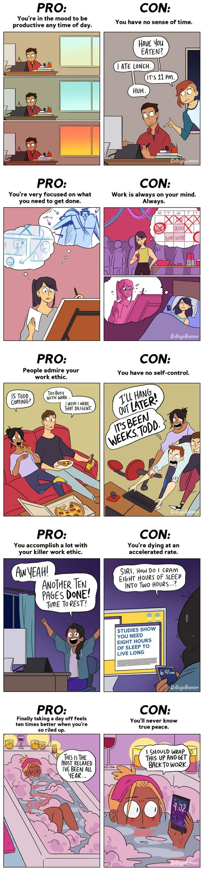 5 Hilarious Comics About The Pros And Cons Of Being a Workaholic
