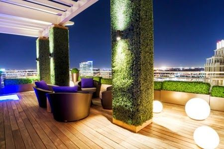 Modern Deck Roof Terrace Design Ideas with Decorative Lighting and Wooden Tile Floor