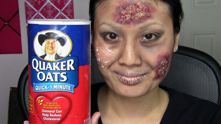 Easy Zombie Walking Dead Makeup Tutorial - eyelash glue and oatmeal!