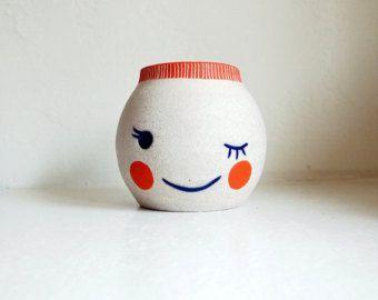 Ceramic Blushie Beastie, Winking by jen e ceramics