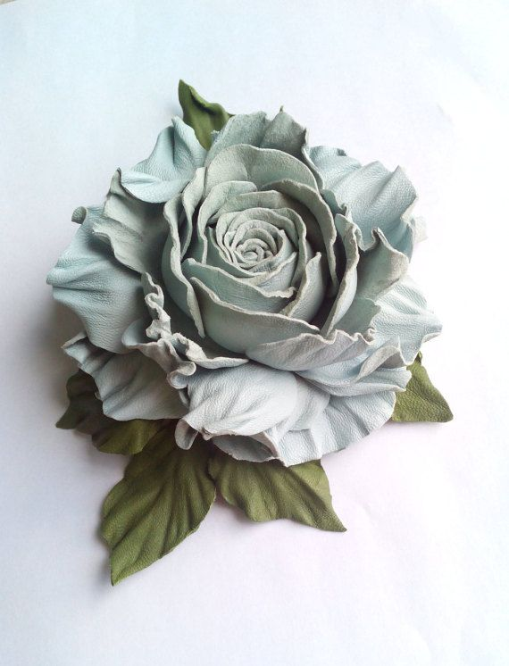 Leather brooch blue rose jewelry for her gift by DreamsAboutSummer