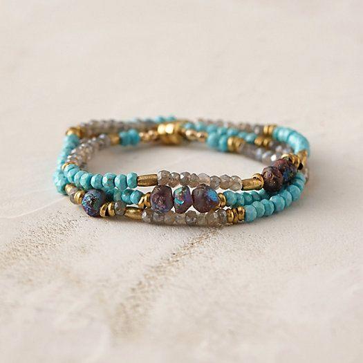 Plum Garnet & Turquoise Wrap Bracelet