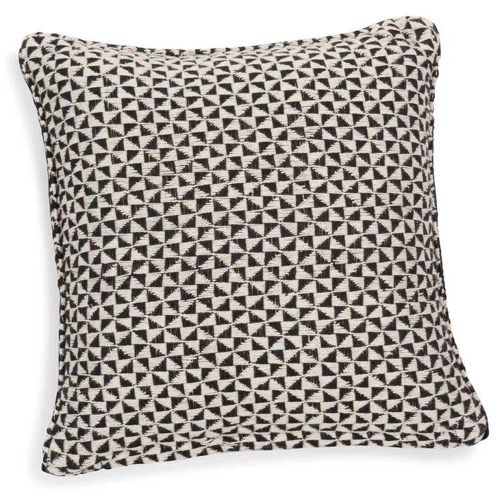 Housse de coussin en coton noir/blanc 40 x 40 cm MAKASSAR