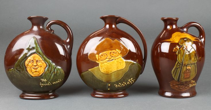 "Lot 16, A Royal Doulton Dewars Whisky Flagon Falstaff 7 1/2"" a ditto The Watchman 7"" and The jovial monk 7"", est £40-60"