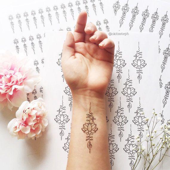 Lotus Unalome tijdelijke Tattoo Set van Okitssteph op Etsy