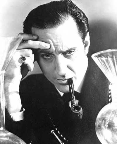 Basil Rathbone as Sherlock Holmes    my favorite, along with Jeremy Brett. Iconic picture.