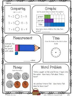 Math Review for Second Grade--measurement, graphing, comparing numbers, telling time, word problems, and more--FREE sample pages