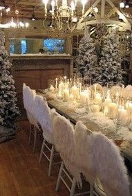 Chairs, feather wings, candles