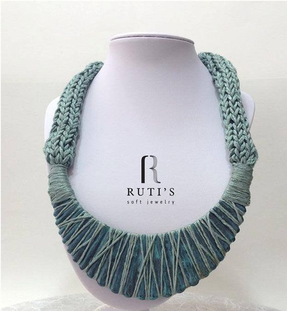 knitted Necklace Painted Metal Shades of green by rutisjewelry