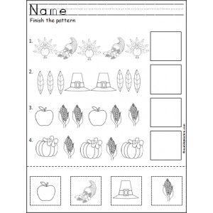 Free.....Thanksgiving Pattern Worksheet Kindergarten - Made By Teachers